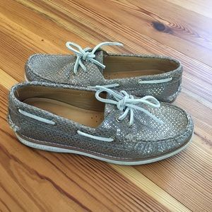 Sperry Silver and Taupe Snakeskin Boat Shoes